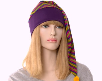 Boho Long Pointed Hat Bright Color Chevron Stripes Purple Pink Festival Cap