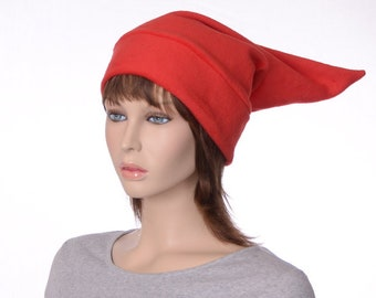 Bright Red Elf Hat Costume Pointed Stocking Cap Adult Unisex Warm Winter Hat Fleece