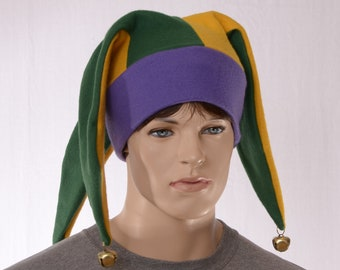 Jester Hat Three Pointed Cap Purple Gold Green Bells Adult Man Woman Fleece Beanie Harlequin