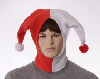 Jester Hood Red and White Hat Made of Fleece with Pompoms Harlequin