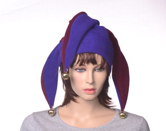 Purple Maroon Jester Hat New Orleans Three Point Harlequin Cap with Bells Fleece Mardi Gras Carnival