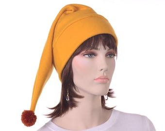 Gold Stocking Cap Fleece Elf Pointed Hat Golden Brown Pompom Ball Warm Winter Beanie Hat