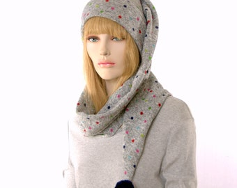 Long Stocking Cap Gray Sewn Sweater Knit Scarf Hat 5 Foot Long Tail Multi-Color Dots Pompom