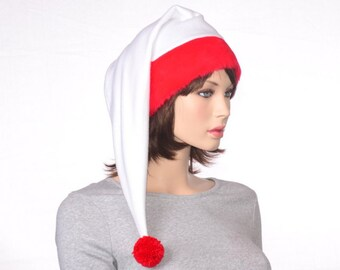 Long Santa Hat Red White Reverse Cap Red Faux Fur Headband Christmas Hat Pompom Adult