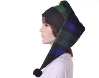 Long Stocking Cap in Green Plaid Adult Men Womens Hat Black Watch
