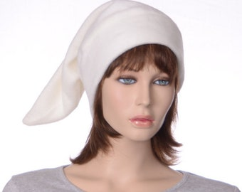 Cream Elf Cap Off White Dwarf Hat Pointy Stocking Cap Fleece Unisex Adult