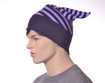 Custom Order for Alana Short Pointed Nightcap Cotton Purple and Navy Blue Striped Night Cap Adult Men Women Sleep Hat Pajama Beanie