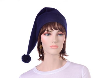 Navy Blue Stocking Cap Pointed Beanie with Pompom