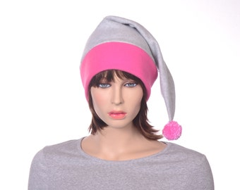 Pink and Gray Stocking Cap Adult Mens Hat Womens Hat Long Pointed Beanie with Pompom Ball Tail Hat