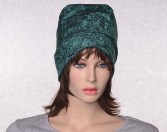 Ladies Beanie in Dark Forest Green Panne Velvet Slouchy Beanie Hat Crushed Velvet Cap  Boho Gypsy Beanie