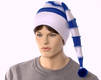 Royal Blue White Stripe Stocking Cap Hat Pointed Beanie with Pompom Fuzz Ball Tail Hat