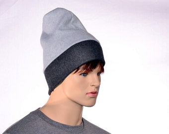 Mens Slouchy Beanie Hat Gray and Black Barretina Style Cap Warm Winter Fleece Hat Watchman Hat