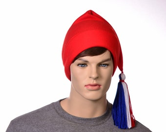 Red Phrygian Cap Liberty Hat Fleece Red White Blue Tassel Revolution Adult Men Women Unisex