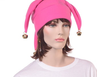 Bubblegum Pink Jester Hat 3 Points with Gold Bells Harlequin Cap