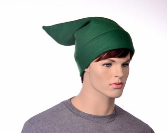 Green Elf Hat Short Pointed Stocking Cap Dwarf Hat Mens Womens Fleece