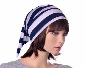 Night Cap Navy Blue White Striped Jersey Knit Mens Pirate Nightcap Womens Sleep Hat Pointed Hat Adult Unisex Woman