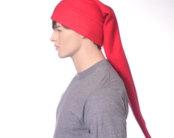Elf Hat Stocking Cap Red Extra Long Pointed Beanie Adult Women Man Christmas