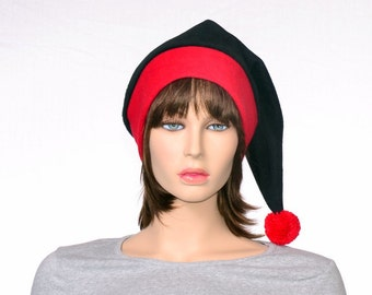 Black Red Stocking Cap Toboggan Hat Red Brim Goth Elf Hat Gothic Elfen Hat Pointed