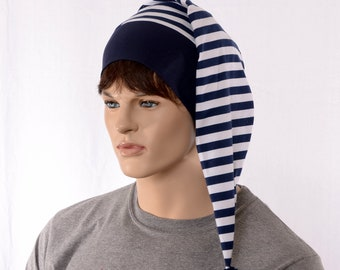 NightCap Navy White Striped Night Cap with Pompom Cotton Adult Men Women Blue Pirate