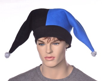 Harlequin Hat in Blue and Black Fleece Pompom Tips Two Pointed Jester Cap Adult Men Women Party Hat