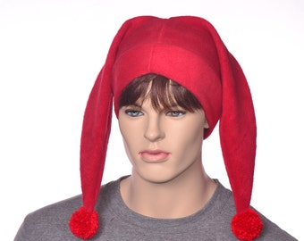 Red Harlequin Hat Two Pointed Jester Cap with Pompoms Fleece 2 Tail