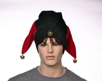 Red Black Jester Hat with Gold Bells Fleece Harlequin Cap Fools Hat Three Pointed Beanie 3 Tail Hat