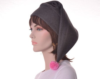 Charcoal Gray Stocking Cap Pink Pompom Pastel Goth Long Pointed Beanie
