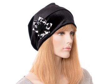 Black Velvet Cloche Beanie with Handmade Flower Boho Hat