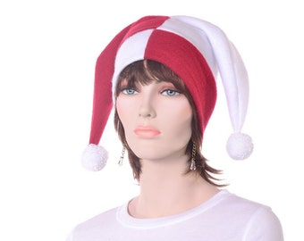 Jester Hat Red and White Harlequin Cap Costume Two Pointed with Pompoms Adult Men Women