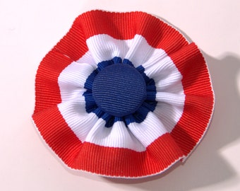 Tri-Color Red White Blue Cockade Ribbon Hat Trim Brooch Patriotic Rosette