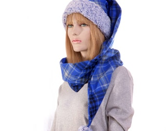 Long Stocking Cap Blue Plaid Around Scarf Hat Sherpa Headband and Pompom
