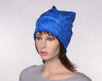 Sapphire Blue Beanie of Crushed Panne Velvet Ladies Slouchy Boho Chemo Cap