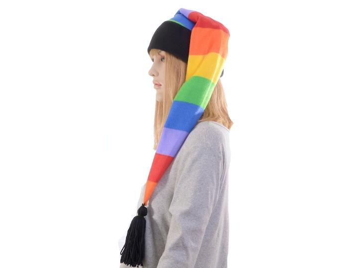 Featured listing image: Long Stocking Cap Rainbow Stripes  Black Headband Tassel Waist Length Pointed Hat Fleece Santa Elf Hat Adult Men Women