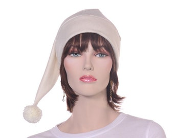 Ivory Stocking Cap Long Fleece with Pompom Pointed Beanie