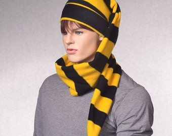 Long Stocking Cap Black Gold Stripes Wrap Around Scarf Hat 5 ft  Coil Unisex Adult Men Women