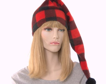 Buffalo Plaid Stocking Cap Red Black with Pompom Fleece Hat Christmas Holiday Long Tail Adult