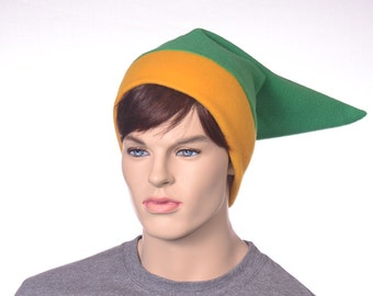 Green Gold Elf Cap Adult Woman Man Pointed Hat RPG Gamer Beanie Geek Hero Fleece Costume  Cosplay