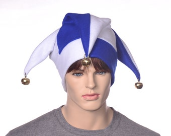 White and Blue Jester Hat Three Pointed Joker Halloween Costume Hat with Bells Harlequin Cap