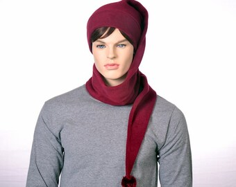 Extra Long Stocking Cap Burgundy 5 Foot Long Adult Men Women Scarf Hat  Tail Hat with Pompom WraparoundLong