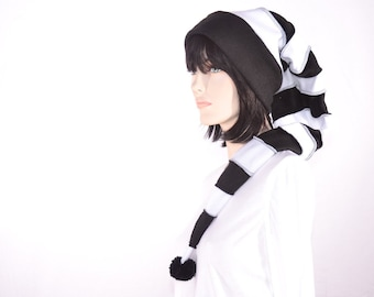 Goth Long Stocking Cap Black White Striped Elf Hat Gothic Punk Long Beanie Tail Adult