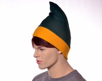 Green Gold Phrygian Cap Simple Liberty Hat Mens Hat Women Green and Gold Elf Pointed Hat