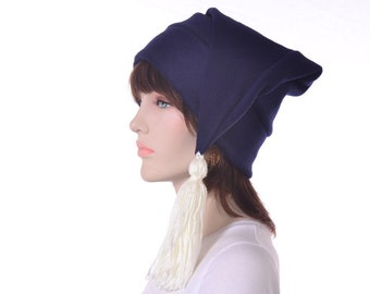 Navy Blue Stocking Hat Phrygian Cap White Tassel Costume Elf Cap Adult