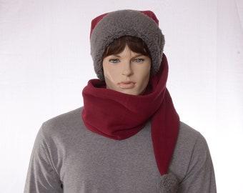Long Stocking Cap Maroon Gray Scarf Wrap Around Hat Pointed Gray Sherpa Headband Fleece