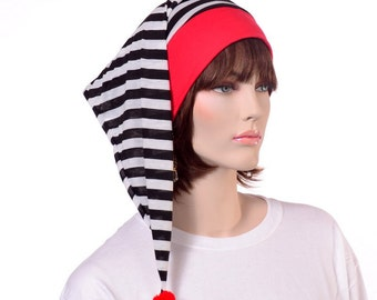 Red Black and White Stripes Sleep Hat Winter Nightcap for Adult Men and Women Mime Hat Night Cap Pompom Poor Poet Hat