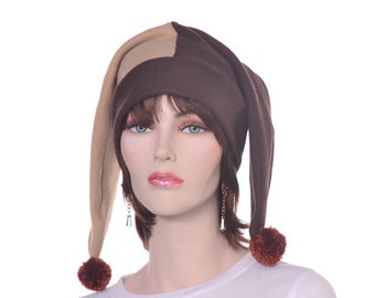 Harlequin Hat Brown and Tan Two Point Man or Woman Jester Hat with Pompoms