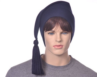 Navy Blue Phrygian Cap Liberty Hat Fleece Stocking Cap with Tassel Mens Womens Hat