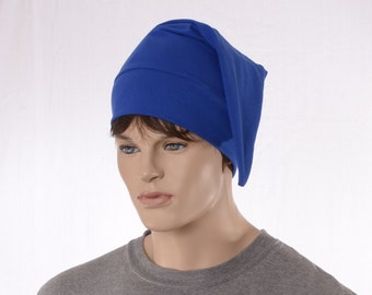 Night Cap Traditional Royal Blue Pointed Sleep Cap Unisex Adult Cotton Nightcap Hat to Sleep