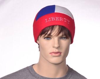 Liberty Beanie Hat Red White Blue 6 Panel Fleece Winter Hat Man Woman Skullcap Patriotic Cap Embroidered Headband