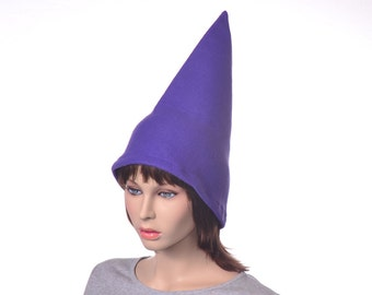 Purple Gnome Hat 15Inch Tall Pointed Halloween Costume Wizard Cap Adult Men Women Wizard Cap Elf Cap Manga Anime Cosplay