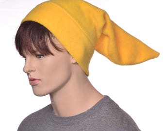 Mens  Gold Yellow Elf Hat Fleece Pointed Beanie Football Game Cap  Dwarf Hat Hunter  Sock Hat